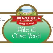 Olio Costa-lorenzo costa fu eugenio-prodotti-acquista online-specialità gastronomiche-patè di olive verdi-etichetta-genova-italia