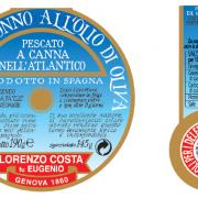 Olio Costa-lorenzo costa fu eugenio-prodotti-acquista online-specialità gastronomiche-tonno listado del'altlantico-etichetta-genova-italia