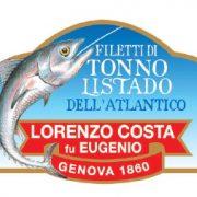 Olio Costa-lorenzo costa fu eugenio-prodotti-acquista online-specialità gastronomiche-tonno listado del'altlantico-etichetta-genova-italiafiletti di tonno listado etichetta fronte