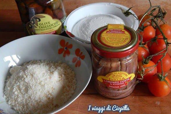 Olio Costa-lorenzo costa fu eugenio-olio-prodotto italiano-ricette-ricettario-genova-italia-sacchettini ricotta pomodorini olive